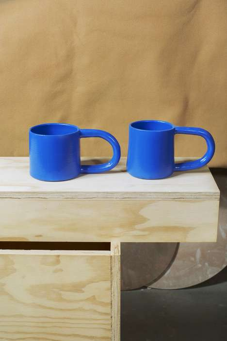 Long-Handled Blue Mugs