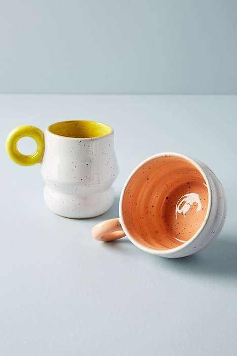 Shapely Speckled Stoneware Mugs