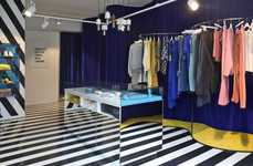 Illusory Retail Shops - The Lemonade Studio Shop boasts Mirrored Counters and Striped Surfaces