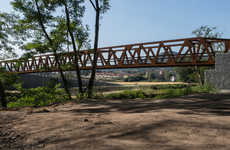 Rusted Pedestrian Truss Bridges