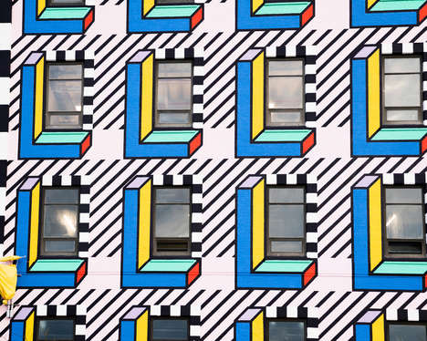 Geometry-Inspired Graphic Murals - Camille Walala Paints the Facade of an Old Building in Brooklyn