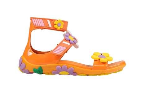 Cartoonish Flower-Embellished Sandals
