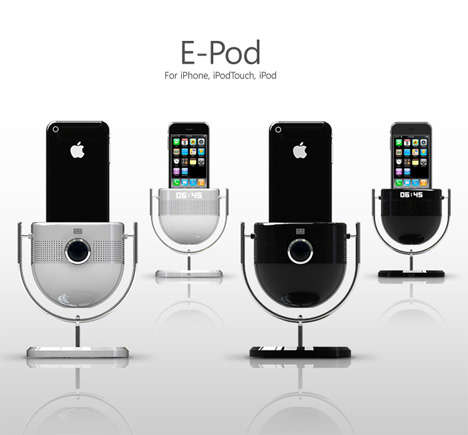 Movie Projecting Chargers - The 'E-Pod' iPod Dock Projects Your Media on the Wall