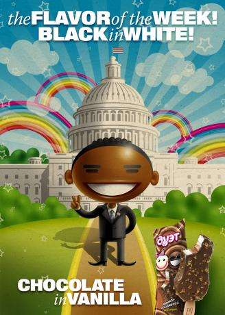 Obama Ice Cream - Russia's Duet Ice-Cream Ad Features Cartoon Obama and Tons of Rainbows