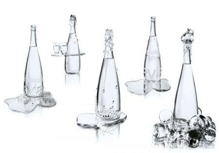Opulent Water Bottles - Luxurious Evian Bottles By Jean-Paul Gaultier and Baccarat