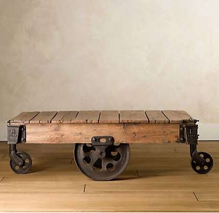 Rustic Recycled Furniture - Restoration Hardware Factory Cart Table is a Well-Worn Decor Addition