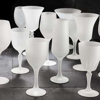 Stylish Recycled Wine Glasses - Umbra 'Frosine' Collection of Sandblasted Vessels