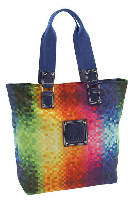 Digital Handbags - Longchamp 'Xlight Imprime' Tote In Pixel Rainbow Edition
