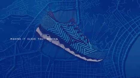Thread-Based Shoe Ads - The Mizuno Waveknit Was Advertised with an All-Thread Ad Campaign
