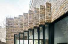 Rustic Stacked Module Houses - The Step House Was Made with Reclaimed Bricks in a Staggered Form