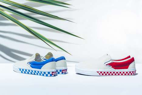 Vinrantly Checkered Canvas Shoes - BILLY Drops a Side Wall Check-Patterned Slip-On Vans