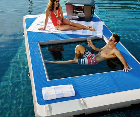 Cutout Aquatic Lounge Platforms - The Frontgate Floating Dock with Hammock Lets You Quickly Cool off