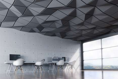 Geometrically Textured Ceiling Tiles - This Ceiling Treatment Offers Visual Intrigue in Any Space