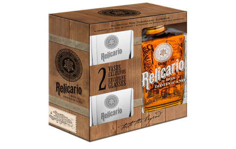Shareable Rum Sets - Ron Relicario Superior Rum is Packaged in a Box with Glasses for Sharing