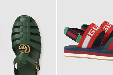Luxurious Tonal Summer Sandals - The Newest Gucci Sandals Boasts Branding Details Throughout