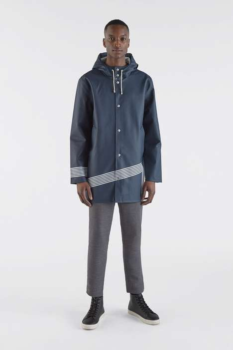 Collaborative Pinstripe Raincoats
