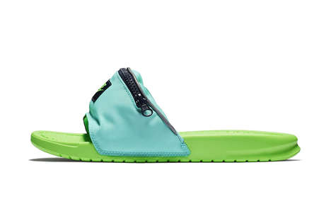 Fanny Pack-Infused Slides - Nike's Benassi Fanny Pack Slides Feature a Small Storage Compartment