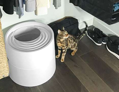 Circular Designer Litter Boxes - The 'Boxscoop' Can be Cleaned in Just Six-Seconds