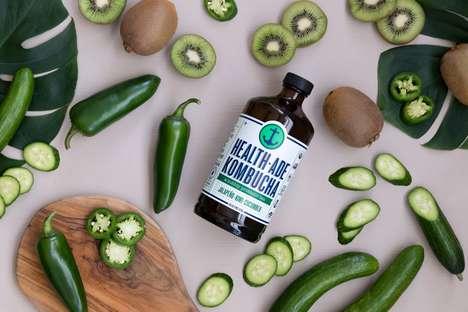 Spicy Cucumber Kombuchas