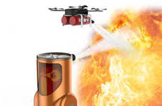 Automated Fire-Extinguishing Robots - The 'Fire Man' Drone Extinguishes from the Ground and the Air