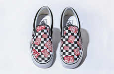 Checkered-Pattern Slip Sneakers