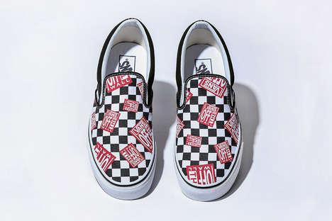 Checkered-Pattern Slip Sneakers