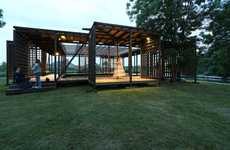 Latticed Wooden Dance Pavilions