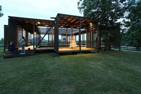 Latticed Wooden Dance Pavilions