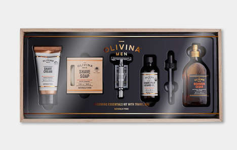 Premium Masculine Grooming Kits - The Olivina Men Premium Shave Kit Features High-Quality Goods
