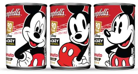 Cartoon-Honoring Soup Packaging - The Mickey Mouse Campbell's Soup Cans Celebrate the Iconic Cartoon