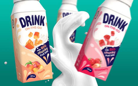 Textured Fruit Yogurt Drinks - These Yili Yogurt Drinks are Packed in Resealable Containers
