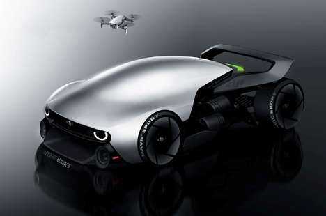 Demure Drone-Inspired Vehicles - The DJI Mavic Car is Aerodynamic and Streamlined