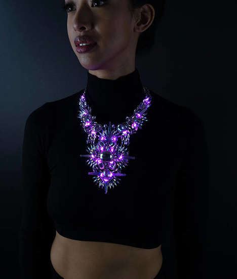Glowing Costume Jewelry Pieces - The Countess Lit LED Necklace Illuminates Your Outfit After Dark