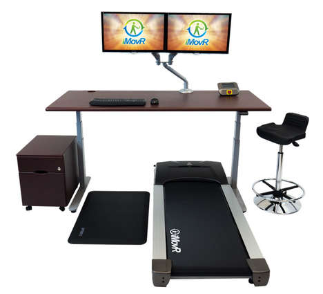 Workout-Ready Workstations - The iMovR Lander Treadmill Desk is Easily Adjusted via Your Smartphone