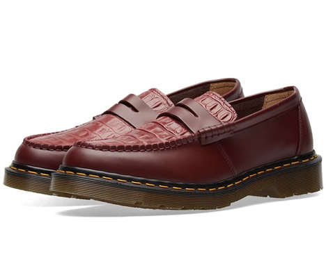 Contrasting Stitched Leather Loafers