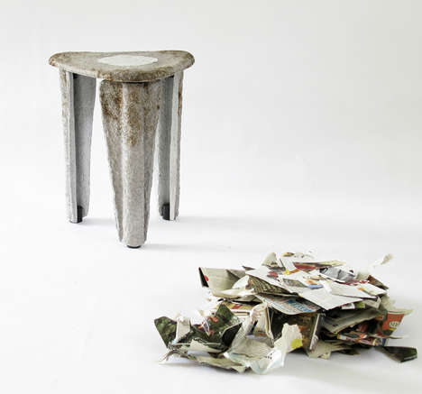 Upcycled Paper Pulp Stools - The llegado Series by taeg nishimoto Draws a Prehistoric Influence
