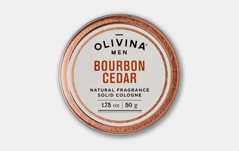 Woody All-Natural Solid Fragrances - The Olivina Men Bourbon Cedar Solid Cologne is Travel Friendly