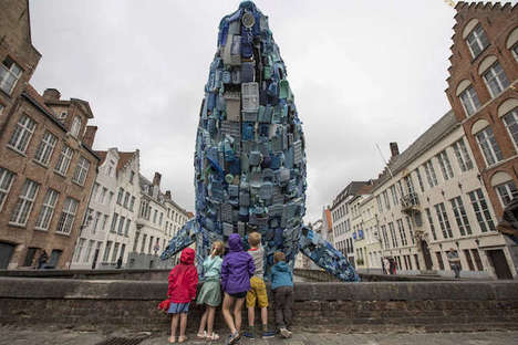 Plastic Five-Ton Whale Sculptures