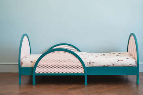 Perforated Toddler Beds - Homelabdesign Introduces the Geometric Bed Inspired by Rattan Chairs