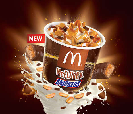 Candy Bar-Infused Ice Creams - McDonald's Fans are Sure to Go Nuts Over the New Snickers McFlurry