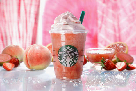 Pink-Clad Blended Beverages - Starbucks Japan Released Its Peach Pink Fruit Frappuccino