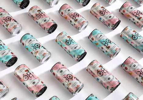 Playful Summertime Cider Branding - The Wölffer 139 Cider Cans are Convenient and Chic