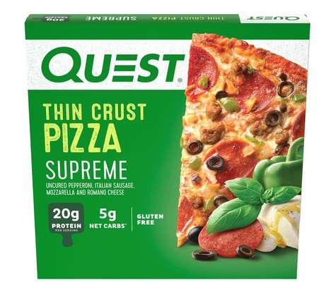 High-Protein Frozen Pizzas - Quest Nutrition's Thin Crust Frozen Pizzas are Low in Net Carbs