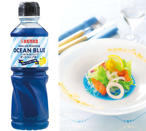 Vibrant Blue-Hued Dressings - The Kenko Ocean Blue Salad Dressing is Colored with Spirulina