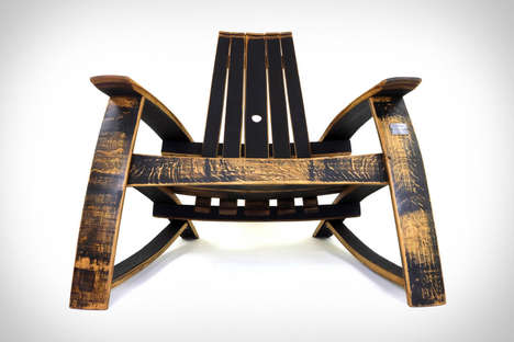 Vintage Whiskey Chairs - The Bourbon Barrel Adirondack Chairs Have a Unique Vintage Appeal