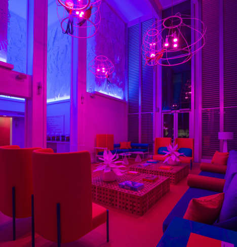 Chromatic Neon Hotel Interiors - BHDM Design Mixes Hawaiian Prints with an Ambient Color Scheme