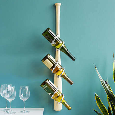 Sport-Themed Wine Holders - The Baseball Bat Wine Rack is a Rustic Artistic Addition to Any Home Bar