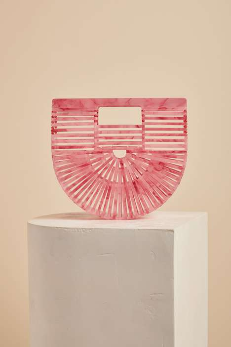 Rose-Hued Cage Purses - This Cult Gaia Signature Bag Boasts a Sculptural Silhouette