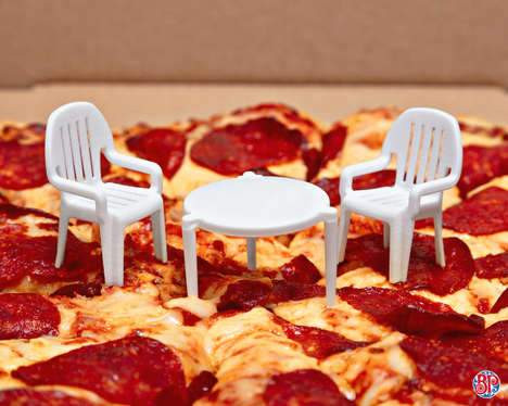 Humorous Miniature Patio Sets - Boston Pizza &  john st. Equip the Pizza Saver with Matching Stools