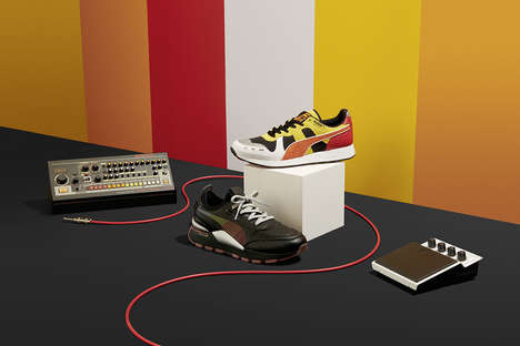 Audiophile Sneaker Designs - The Roland and PUMA Collaboration Boasts Sleek and Colorful Footwear